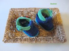 Hand Knitted Baby Boy Cotton TBar Sandal  Ready by AniramCreates, £12.50