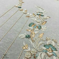 No automatic alt text available. Zardozi Embroidery, Kurti Embroidery Design, Hand Work Embroidery, Couture Embroidery, Bead Embroidery Jewelry, Indian Embroidery, Gold Embroidery, Embroidery Fashion, Modern Embroidery