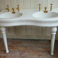 """""""Serpentine-Fronted'' French Double Basin by J.Delafon, Paris C.1900. Original glaze in good condition"""