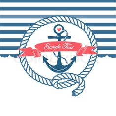 Vector of 'Cute Nautical Background with anchor, rope, flag and a heart'