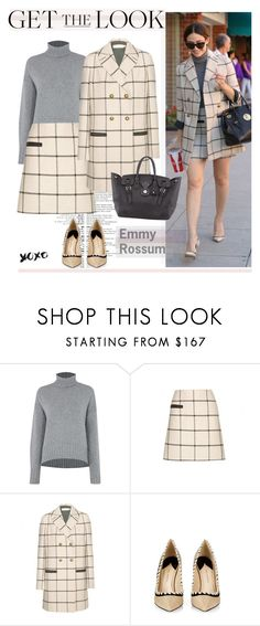 """""""Get the Look: Emmy Rossum"""" by hamaly ❤ liked on Polyvore featuring Michael Kors, Tory Burch, Paul Andrew, Ralph Lauren, GetTheLook, StreetStyle, ootd, waystowear and plaidcoats"""