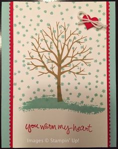 Erica made this great card with the brand new stamp set, Sheltering Tree that is available in the Stampin' Up! 2015 Spring Occasions Catalog beginning 1/6/15. It can be used for all four seasons! #Stampinup #SUO #shelteringtree
