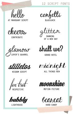Twelve {Free} Script Fonts! Love these! #fonts #typography