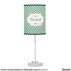 Green vintage gingham calligraphy name table lamp