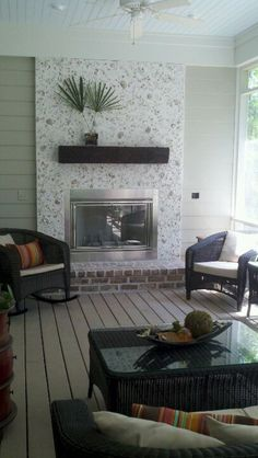 Love our new fireplace on the back porch! And, I placed each oyster shell by hand!