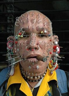 This guy has made to the list due to his extreme love with the facial rings and pin piercings.