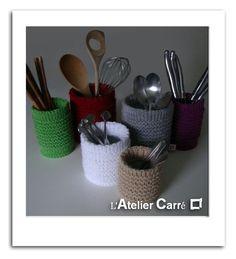 Cache-pot pour boîte de conserve en tricot