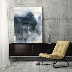 """$80-$366 Large abstract canvas print, painting, canvas art print, abstract art, wall art canvas, giclee print blue white grey gray """"A Long Perspective"""""""