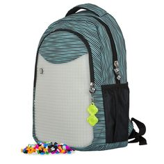 Pixie Crew Children's Backpack, Student Backpack Schwarzweiß Gestreift (Black) - PXB-16-02: Amazon.co.uk: Amazon.co.uk: Pixie, School Backpacks, Black Backpack, Blue Stripes, Black And White, Creative, Stuff To Buy, Bags, Products