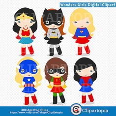 Wonders Girls Digital Clipart / Supergirls Digital by ClipArtopia, $5.00 Cute, although why do they look so sheepish?