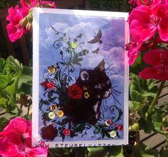 DIY Katzenkarte mit #Katzen Stempel von @IndigoBlu aus dem @Stempellädle, der Bastelmarkt und Versafine Tinte von @Imaginecrafts feat. @Tsukineko .