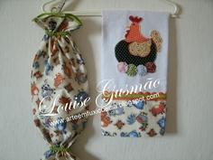 Kit Cozinha Galinha - Pano de Prato e Puxa Saco.