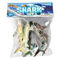 Shark Bag: 6-Piece Set (5.5-7.5-inch)  at theBIGzoo.com, an animal-themed superstore.