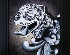 Ornamental Pit Bull Dog Art Print - 8 x 10