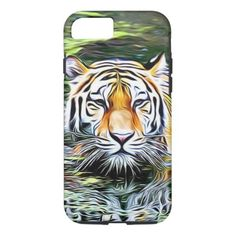Tiger Reflection Digital Art Cell Phone Case -nature diy customize sprecial design