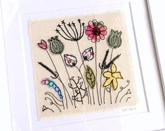 Wildflower meadow framed wall art picture gift, stitched fabric applique embroidery. seed heads, wildlife, nature textile art