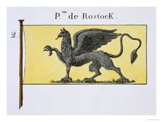 Maritime Flag with Griffin Emblem Denoting de Rostock Crest, from a French Book of Flags, c.1819