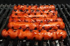 marinated spicy bbq hot dogs