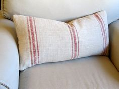 FRENCH LAUNDRY  Grain Sack 12x25 sofa pillow  in RED by yiayias, $60.00