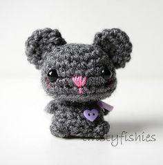 Baby Gray Mouse Mini Amigurumi #crochet