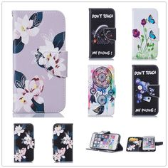 For Apple iphone 6 6s 6 plus 6Plus 5.5 inch Tower Campanula Flower Cover Wallet Stand Dress Style Flip Leather Case Card Holder
