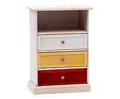 Comodino a 3 cassetti in legno di pioppo bianco - 50x72x29 cm