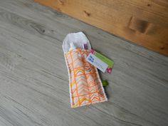 Petite pochette voyage pour brosse à dents et/ou dentifrice, pochette brosse à dent, pochette transport, pochette dentifrice, zigzag, orange de la boutique PetitHerissonM sur Etsy