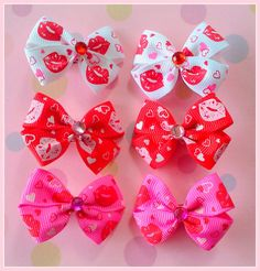 Kisses Bitsy Bows 3 pairs by Flowers4Emily on Etsy