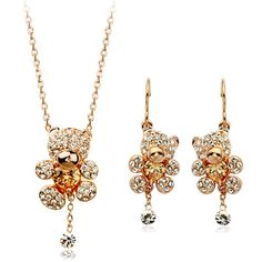 Authentic Austrian champagne crystal 18k gold plated lovely bear necklace earrings jewelry [JS400] - US$11.38 : www.evernewfashion.com