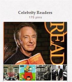 """Celebrity Readers: Well-known people, both real and fictional, reading, writing, or with books, or photos of celebrity libraries or bookplates. For art and photos of non-celebrities reading (including those by famous artists), see """"Reading as an Activity."""" Related pins are also in """"Type It,"""" """"Librarian Depictions,"""" """"Book Accessories,"""" and several other book and library boards."""