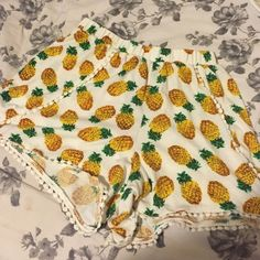 Pineapple Pom Pom Highwaisted shorts. NOT BM. High waisted! Purchased for $35 last summer. $18 SHIPPED PAYPAL. Brandy Melville Shorts
