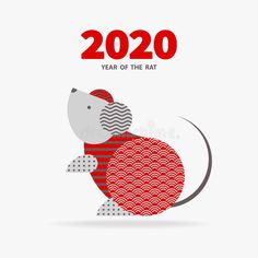 2020 Year of the RAT. Rat is a symbol of the 2020 Chinese New Year. Holiday vect , #affiliate, #Chinese, #symbol, #vector, #Holiday, #Year #ad