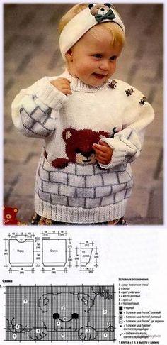 Baby Knitting Patterns Sweter White sweater with a teddy bear Baby Knitting Patterns, Baby Hats Knitting, Knitting Charts, Knitting For Kids, Baby Patterns, Crochet Baby Sweaters, Knitted Baby Cardigan, Crochet Baby Clothes, Crochet Baby Hats