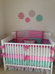 Ruffled Crib Bedding Set Teal And Pink By Erbeansboutique