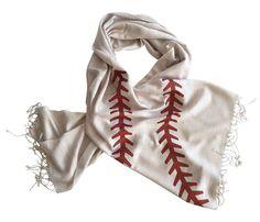 Baseball Stitching Printed Scarf. Silkscreened Linen weave pashmina