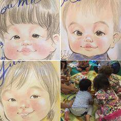 邪悪な似顔絵師やけど似顔絵はマジメに描きました三姉妹も一緒やとちょいちょいお世話するため通常より時間かかりましたが心はしっかりこもっております I drew some Nigaoe (Japanese style portrait) at the meeting place:)  #meetinggrouptampopo #子育て広場たんぽぽ #stockel #brussels #belgium #ベルギー #3sistersofflandars #フランダースの三姉妹 #にがおえファミリー #nigaoefamily