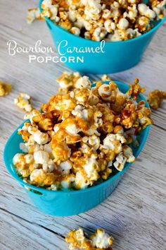 Bourbon caramel popcorn. Crunchy popcorn coated with a special bourbon caramel sauce, great for movie night, holiday parties, and homemade gifts.