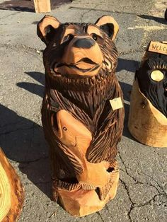 Chainsaw Wood Carving, Wood Carving Art, Wood Art, Wood Carvings, Wood Projects, Woodworking Projects, Simple Wood Carving, Tree Carving, Wood Carving Patterns