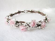 Wedding Floral Crown Light Pink Flower Headband by HydrangeasLover
