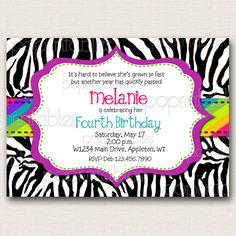 Zebra Print Rainbow Girl's Birthday Invitation - DIY PRINTABLE. $12.00, via Etsy.