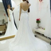 A-line Halter Backless Court Train Wedding Dress with Beading