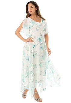 Roamans Women's Plus Size Floral Beaded Fit And Flare Gown...