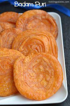 Badam Puri recipe with step by step photos. Badam puri is a Kannada sweet most popular in Karnataka made during festivals like Diwali, Navratri