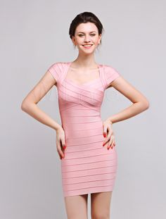 Light Pink Short Sleeves Womens Party Dress