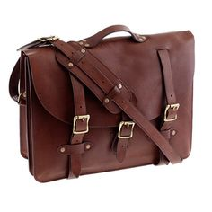 "Montague leather satchel: Handsome and practical ""man bag"" for the man in your life. $298"