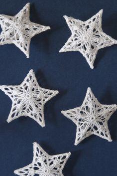 White Crochet Star Decs