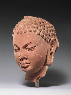 India (Uttar Pradesh, Mathura) | Head of a Buddha | late 5th–early 6th century  from the Metropolitan Museum of Art