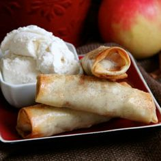 #2- Fun, delicious, and easy Baked Apple Pie Egg Rolls (step by step photos). This wld be yummy with my homeade vanilla bean ice cream and carmel bourbon sauce!... Made these and didn't have time to do it w/homeade ice cream although that wld've been amazing! Will be making these again! I made them baked and fried in olive oil. Good both ways