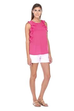 This silky blouse is a closet staple! It is sleeveless with ruffles, and can be dressed up or down. Ruffle Top, Ruffles, Tunics, The Selection, Athletic Tank Tops, Dress Up, Blouse, Colors, Shirts