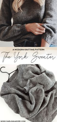 This easy sweater knitting pattern, The York Sweater by Darling Jadore, is the perfect pattern for beginners who want to knit a raglan-style sweater. Easy Sweater Knitting Patterns, Outlander Knitting Patterns, Knit Patterns, Knitting Ideas, Knitting Designs, Knitting Projects, Chevron, Couture, Knit Crochet
